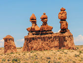 Three Sisters Hoodoos Goblin Valley State Park Rock Canyon Utah  — Stock Photo