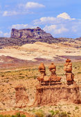 Three Sisters Hoodoos Goblin Valley State Park Rock Canyon Wild — Stock Photo