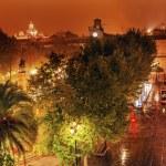 ������, ������: Plaza Nueva Ferdinand Statue Train Rainy Night Church El Salvado