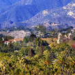 Mission Santa Barbara Mountains Palm Trees California — Stock Photo