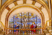 Crucifixion  Stained Glass Basilica Cathedral Andalusia Granada  — Foto Stock
