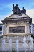 1492 Isabella with Colombus Statue Fountain  Built 1892 Andalusi — Stock Photo