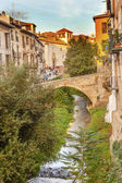 Old Bridge Walking Street River Rio Darro Albaicin Granada Andal — Stock Photo