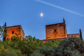 Alhambra Towers Moon Flags Albaicin Granada Andalusia Spain — Stock Photo