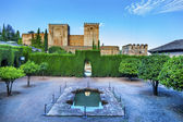 Alhambra Wall Towers Fountain Garden Granada Andalusia Spain — Stock Photo