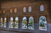 Alhambra Moorish Wall Designs City View Granada Andalusia Spain — Stock Photo