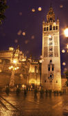 Giralda Bell Tower Seville Cathedral Rainy Night Spain — Zdjęcie stockowe