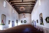 Mission San Luis Obispo de Tolosa California Basilica Wooden Pew — Stock Photo