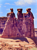 Three Gossips Rock Formation Canyon Arches National Park Moab Ut — Stock Photo