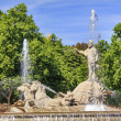 Neptune Chariot Horses Statue Fountain Madrid Spain — Stock Photo #50441523