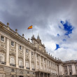 Royal Palace Clouds Sky Cityscape Spanish Flag Madrid Spain — Stock Photo #50441653
