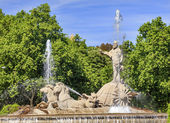 Neptune Chariot Horses Statue Fountain Madrid Spain — Stock Photo
