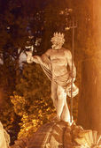 Neptune Statue Fountain Night Madrid Spain — Stock Photo