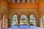 Alhambra Moorish Wall Designs City View Granada Andalusia Spain — Stock Photo