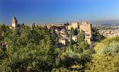 Alhambra Church Castle Towers Granada Andalusia Spain — Stock Photo