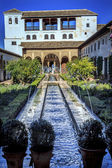 Generallife Alhambra White Palace Garden FountainGranada Andalus — Stock Photo