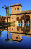 Alhambra Courtyard El Partal Pool Reflection Granada Andalusia S — Stock Photo