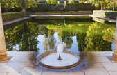 Alhambra Courtyard El Partal Fountain Pool Reflection Granada An — Stock Photo