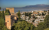 Alhambra Castle Towers Cityscape Churchs Granada Andalusia Spain — Stock Photo