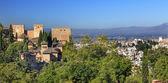Alhambra Castle Towers Cityscape Churchs Granada Andalusia Spain — Stock Photo