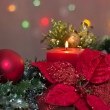 Poinsettia and Candle — Stock Photo #12647098