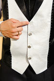 Wedding suit detail with lost buttom — Stock Photo