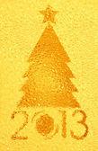 Christmas tree crystal golden background — Stock Photo