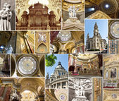 St. Stephen's Basilica, interior and facade collage — Stock Photo