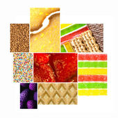 Closeup of colorful deserts in collage — Stock Photo