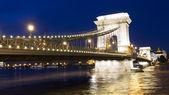 Budapest Chain Bridge night view — Stock Photo