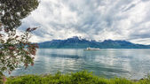 Bank of the Geneva lake with steam boat, Montreux — Stock Photo