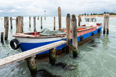 Wide angle shot of tied bout in Venice — Stock Photo