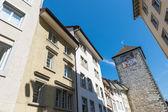 Tower with zodiac clock, center of Schaffhausen, Switzerland — Stock Photo