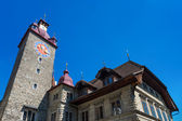 Town Hall clock tower in Lucerne — Stock Photo