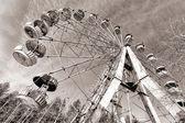 Cabins of abandoned Ferris wheel, Pervouralsk, Urals, Russia — Stock Photo