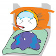 Boy sleep sick — Stock Vector