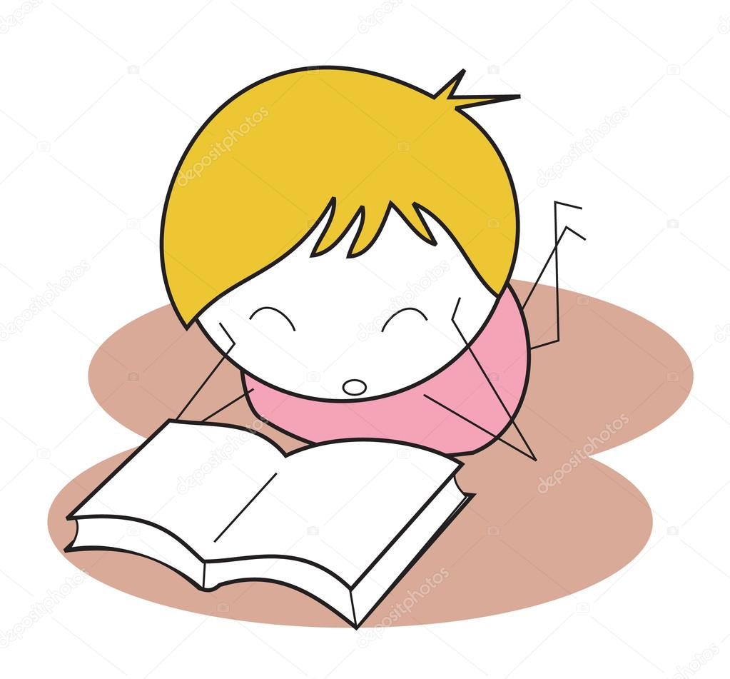 Kids Reading Vector Kid Read Book — Vector by