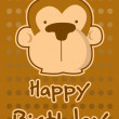 Birthday card with illustration cute monkey — Stock Vector