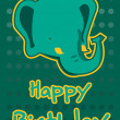 Stock Vector: Birthday card with illustration cute elephant