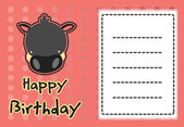 Cute wild boar birthday card — Stock Vector