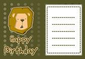 Cute lion birthday card — Stock Vector