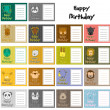 Royalty-Free Stock Vectorafbeeldingen: Set of animal birthday card