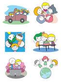 孩子玩户外 — 图库矢量图片