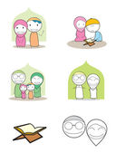 Familia musulmana — Vector de stock