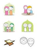 Muslimské rodiny — Stock vektor