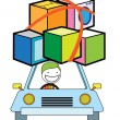 Man moving car — Stock Vector