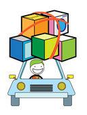 Man moving car — Stock Vector