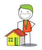 Acquistare casa di uomo d'affari — Vettoriale Stock