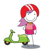 Girl scooter — Stock Vector