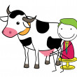 Milking cows — Stock Vector